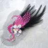 1/31 黒×ピンク プロ選手オーダーメイドの羽付き髪飾り✨